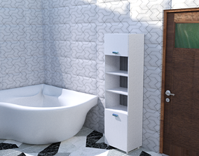 3D asset low-poly Modern bathroom family
