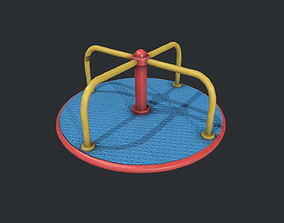 3D model Playground Roundabout - Blue