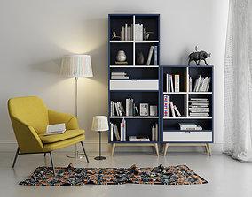 Leisure chair tea table combination Bookcase 3D model 1