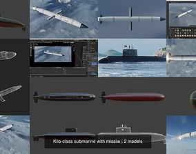 Kilo-class submarine with missile 3D