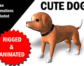 3D asset realtime Cute Dog CHaracter RIgged and Animated