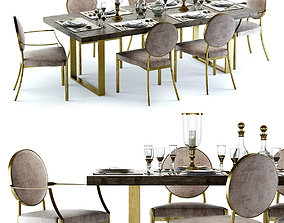 Eichholtz Melchior Table and Scribe Chairs 3D