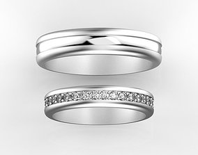 Diamond wedding bands 3D print model