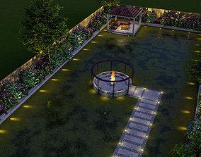 backyard landscape of small house 3d model bridge