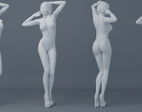 Ponytail hair girl wear bikini 002 3D print model