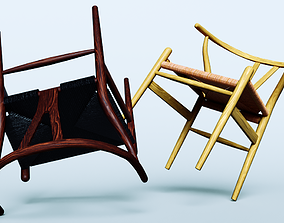 low-poly Wishbone chairs Low-poly 3D model
