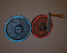 Gear Train With Handle 3D asset realtime