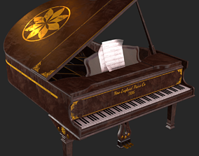 3D model Old Antique Grand Piano PBR
