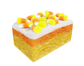 Cake with halloween candy cornes 3D model