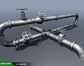 realtime Industrial Ceiling Pipe Low-poly 3D Model