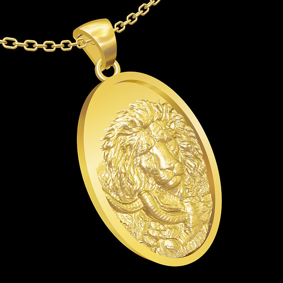 Lion in the jungle pendant jewelry gold necklace medallion 3D print model