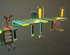 3D asset Retro sci-fi tables and shelves