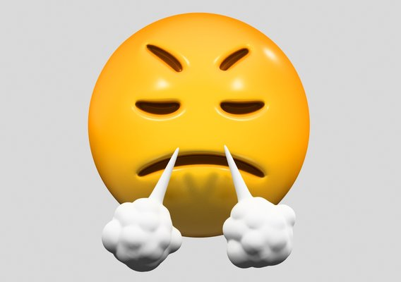 Emoji Face with Steam From Nose 3D model