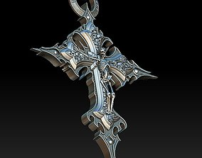 Skeleton Crucifix Pendant 3D