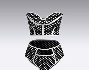 corset blouse suit polka dots fashion style 3D