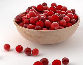 3D asset animated cranberry fruit bowl