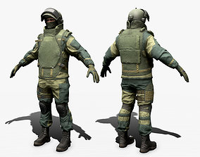 Army Man 3D model rigged