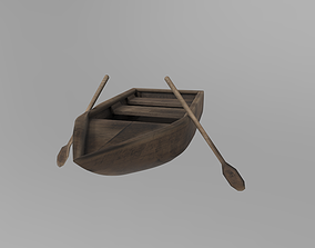 3D model Old rowing wooden boat PBR