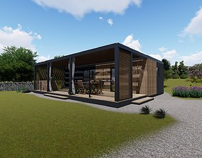 modern mobile home tiny house vacation house on 3D asset