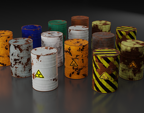 Metal Barrels - Old Rusted - PBR - High Quality 3D asset