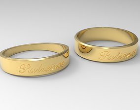 Patience Couple Ring Gold 24k Polished 3D print model