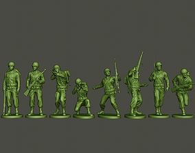 3D model American soldier ww2 A1 Pack