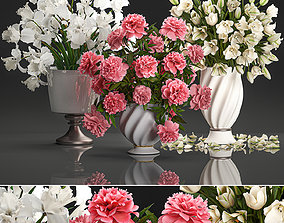 Bouquet of white flowers in a vase for decoration 3D model