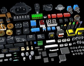 Electronic Components for circuit board 3D model