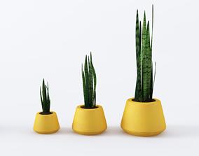 3D model Yellow pots set with plants
