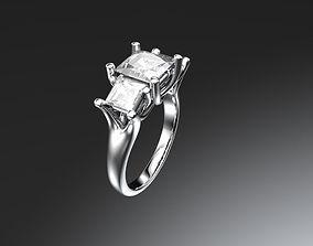 three 3D print model Three stone engagement ring