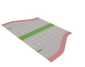 Freeway Exit 3D asset low-poly