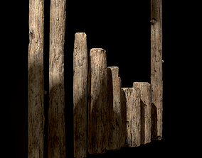 3D model Old Wooden Poles and Planks 13 pieces