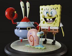 SpongeBob SquarePants and Krabs and Gary 3D model