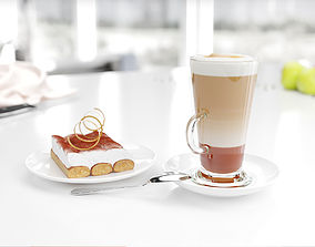 Coffee cup with dessert 3D