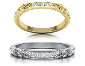 3D printable model Nature inspired Diamond Wedding ring 1