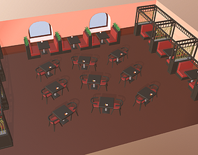 Cartoon restaurant 3D asset