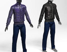 Men s jacket polyamide jeans style black purple 3D model