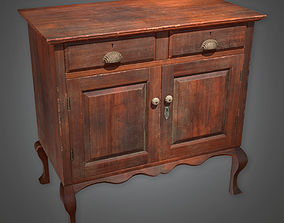 3D model Two-Door Wooden Cabinet Antiques - PBR Game Ready