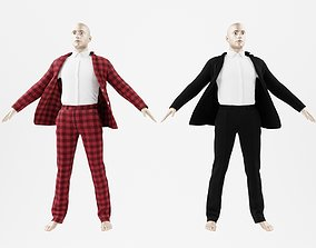 Black and check suit 3D model