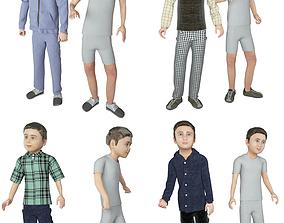 3D model 4x boys real cloth simulation conversation loop 1