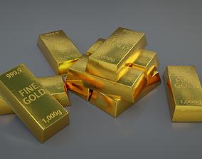 Gold bar 3D model low-poly