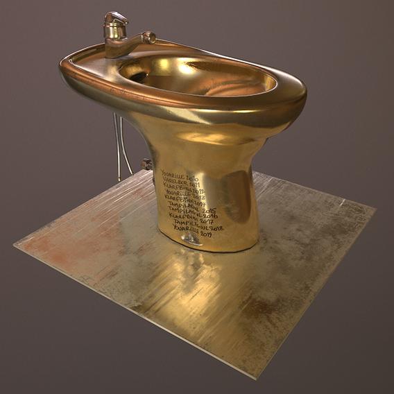 Golden bidet made for a Fiverr client