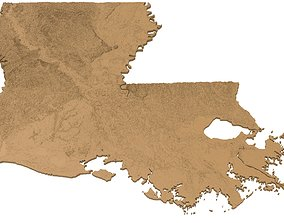 3D print model Louisiana Relief Map