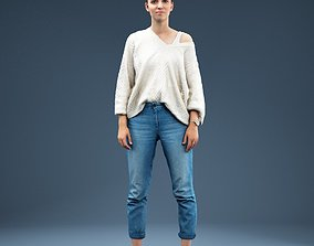 Relaxed girl in Jeans and White Top 3D model