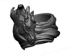 Detailed King Horse Mustang Ring with long 3D print model