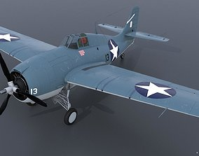 GRUMMAN F4F-3 WILDCAT 13 3D model rigged