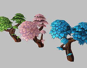 Low poly hand painted stylized cartoon style tree 3D model