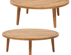3D model NOUMEA Round solid acacia garden side table