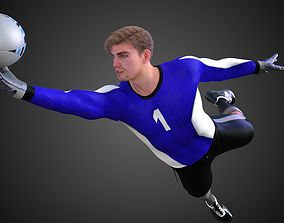 Caucasian Football Soccer GoalKeeper 3D model