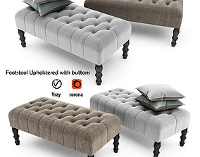 Footstool Upholstered with buttons footrest 3D